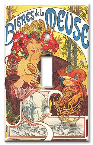 Single Gang Toggle Wall Plate - Mucha: Bieres De La Meuse - llightsdaddy - Art Plates - Wall Plates