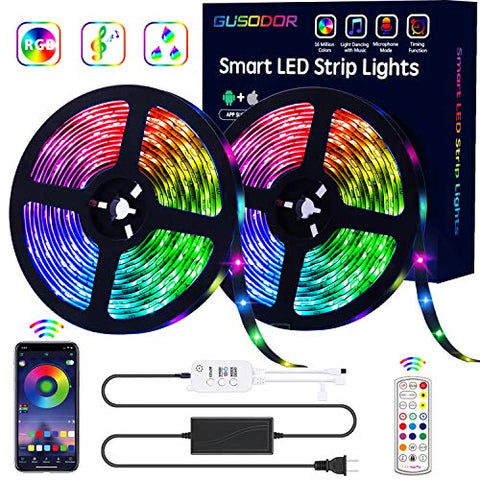 Gusodor Led Strip Lights Rgb Strips 32.8Ft Tape Light 300 Leds Smd5050 Waterproof Music Sync Color Changing + Bluetooth Controller + 24Key Remote Control Decoration For Home Tv Party - App Controlled