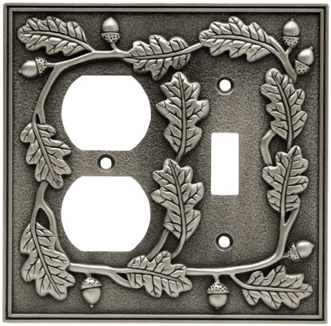 Liberty Hardware 64145 Acorn Single Switch/Duplex Wall Plate, Brushed Satin Pewter