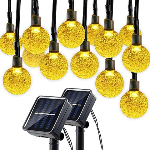 Lumitify 2 Pack Globe Solar String Lights, 19.7ft 30 LED Fairy Crystal Ball Outdoor Decorative Lights(Warm White) - llightsdaddy - Lumitify - Commercial Lighting