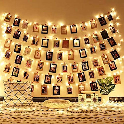 Liqing Fairy Lights Photo Clip String Lights Battery Powered LED String Lights with 40 Clips for Hanging Pictures Indoor Outdoor Lights for Bedroom Wall Decor Wedding Party 19.7ft-40 Clips Warm White