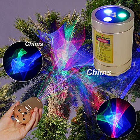 Mini Outdoor Laser Projector, Chims Rgb Aurora Handheld Portable Cordless Sound Activated Lights For Xmas Garden Patio Landscape Camping Yard Indoor Disco Dance Dj Party Christmas Birthday Gift