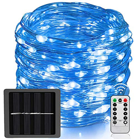New Upgraded Solar Powered Fairy Lights Remote Control, 66 ft 200LED Bigger Solar Panel Copper Wire Lights Waterproof Dimmable Outdoor Solar Twinkle Lights for Garden Christmas (White)