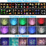Led Christmas Projector Lights,2-In-1 Ocean Wave Projector,16 Slides 10 Colors,Remote Control Indoor Outdoor Lights