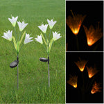 Wotryit 7 Color Change 4 LED Solar Lily Decoration Simulation Lawn Lantern 2 Stick White - llightsdaddy - Wotryit - Night Lights