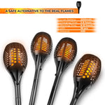 Solar Flickering Flame Torch Lights – Pack of 4 – Outdoor Landscape Garden Decoration Lighting - Optional Height - Dusk to Dawn Auto On/Off, Waterproof - Patio Driveway Dancing Torches Spotlights - llightsdaddy - Abco Tech - Outdoor Porch & Patio Lights