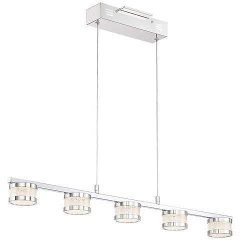 Possini Euro Liv 35.5inch Wide Chrome 5-LED Island Pendant - Possini Euro Design - llightsdaddy - Lamps Plus - Island Lights