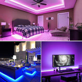 Pinsam Battery Powered Led Strip Lights, Waterproof Flexible Color Changing Rgb Led Light Strip,5050 2M/6.6Ft 60 Leds 5V Battery-Powered With Rf Controller