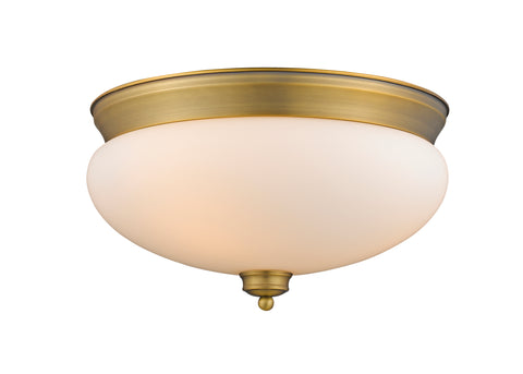 3 Light Flush Mount, Matte Opal, Glass Shade, Heritage Brass Frame