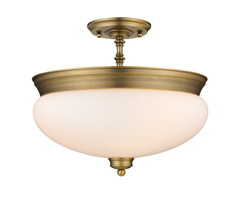 3 Light Semi Flush Mount, Matte Opal, Glass Shade, Heritage Brass Frame