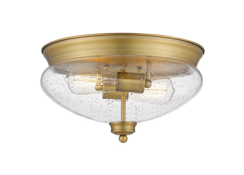 2 Light Flush Mount, Clear Seedy, Glass Shade, Heritage Brass Frame