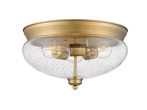 3 Light Flush Mount, Clear Seedy, Glass Shade, Heritage Brass Frame