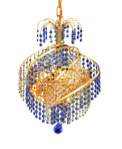 8053 Spiral Collection Pendant D:14in H:16in Lt:3 Gold Finish (Royal Cut Crystals) - llightsdaddy - Elegant Lighting - Ceiling Lights