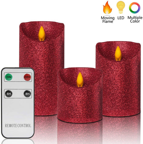 "Christmas Flameless Candles Battery Operated with Remote, Real Moving Flame Decorative Electric LED Candle Sets Real Wax Flickering Pillar Candles Lights Bulk, 4"" 5"" 6"" Pack of 3, Red"