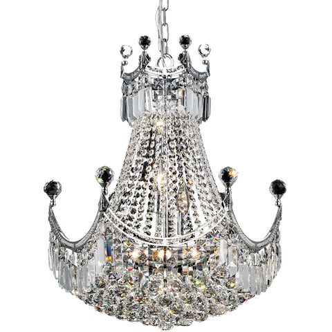 8949 Corona Collection Chandelier D:20in H:28in Lt:9 Chrome Finish (Royal Cut Crystals) - llightsdaddy - Elegant Lighting - Lights