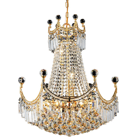 8949 Corona Collection Chandelier D:20in H:28in Lt:9 Gold Finish (Royal Cut Crystals) - llightsdaddy - Elegant Lighting - Lights