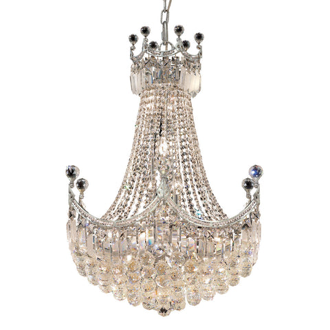 8949 Corona Collection Chandelier D:24in H:32in Lt:18 Chrome Finish (Royal Cut Crystals) - llightsdaddy - Elegant Lighting - Lights