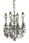 9104 Lillie Collection Pendant D:10in H:10in Lt:4 Pewter Finish (Royal Cut Crystals)