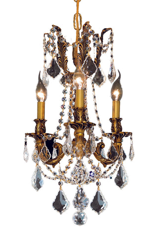 9203 Rosalia Collection Pendant D:13in H:18in Lt:3 French Gold Finish (Elegant Cut Crystals)