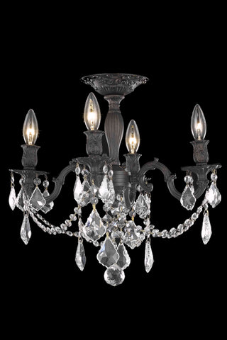 Rosalia 4 light Dark Bronze Flush Mount Clear Elegant Cut Crystal - llightsdaddy - Elegant Lighting - Chandeliers