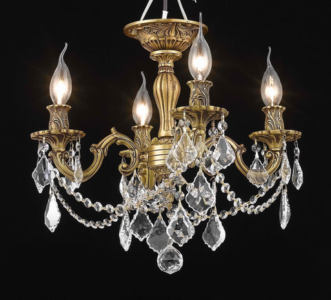 Rosalia 4 light French Gold Flush Mount Clear Elegant Cut Crystal - llightsdaddy - Elegant Lighting - Chandeliers