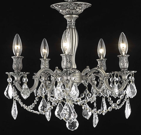 Rosalia 5 light Pewter Flush Mount Clear Elegant Cut Crystal - llightsdaddy - Elegant Lighting - Chandeliers