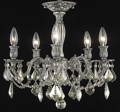 Rosalia 5 light Pewter Flush Mount Golden Teak (Smoky) Royal Cut Crystal - llightsdaddy - Elegant Lighting - Chandeliers
