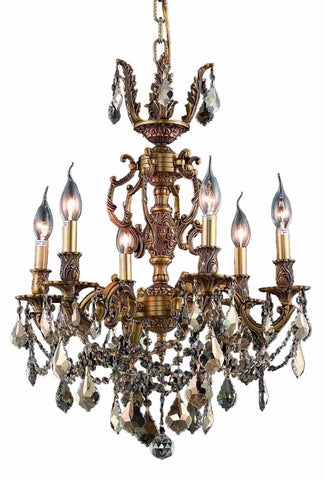9506 Marseille Collection Chandelier D:20in H:23in Lt:6 French Gold Finish (Royal Cut Crystals)