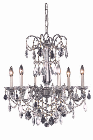 Athena 6 light Pewter Chandelier Clear Elegant Cut Crystal - llightsdaddy - Elegant Lighting - Chandeliers