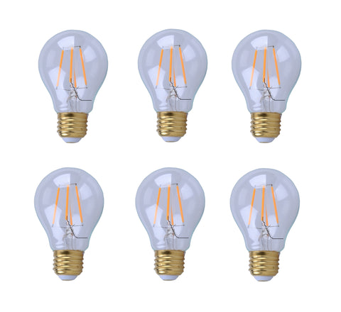 LED Filament E26 light bulb ,4W, 2200K,400lm, Ra80, Beam Angle 360, 15000h lifetime, Epistar LED Chip, Dimmable, Clear Cover and amber base; pack of 6  Elitco Lighting LED Light Bulbs llightsdaddy.myshopify.com lightsdaddy