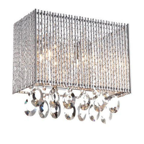 Crystalline Rectengular 2 Light Crystals Wall Sconce