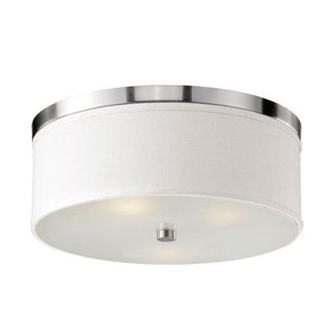 Braxton 20 Inch Round White and Nickel Flush Mount - llightsdaddy - Bromi Design Inc - Ceiling Lights