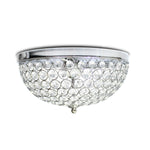 Elegant Designs 2 Light Elipse Crystal Flush Mount Ceiling Light 2 Pack, Chrome