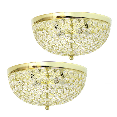 Elegant Designs 2 Light Elipse Crystal Flush Mount Ceiling Light 2 Pack, Gold