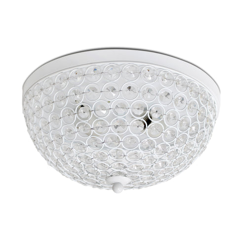 Elegant Designs 2 Light Elipse Crystal Flush Mount Ceiling Light, White - llightsdaddy - Elegant Designs - Pendant Lights