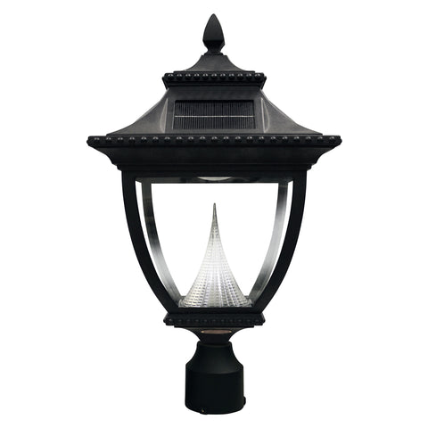 Gama Sonic Pagoda Solar Outdoor Post Light GS-104F - Black Finish