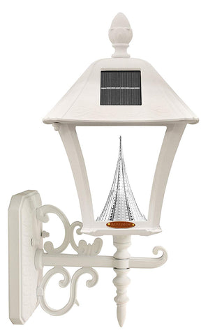 Gama Sonic Baytown Solar Outdoor Lamp GS-106FPW-W - Pole/Pier/Wall Mount Kit - White Finish