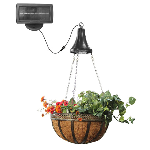 Gama Sonic Solar Outdoor Hanging LED Spotlight with Attachable Hanging Planter Basket #GS-6