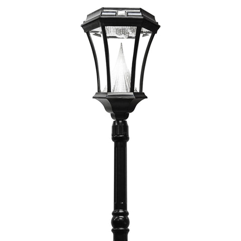 Gama Sonic Victorian Solar Lamp Post and Single Lamp LED Light Fixture, 93-Inch Height, Black Finish #GS-94S