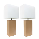 Elegant Designs 2 Pack Modern Leather Table Lamps with White Fabric Shades, Beige - llightsdaddy - Elegant Designs - Table Lamp