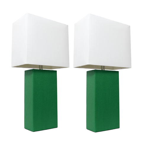 Elegant Designs 2 Pack Modern Leather Table Lamps with White Fabric Shades, Green