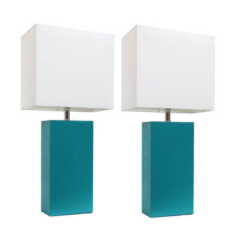 Elegant Designs 2 Pack Modern Leather Table Lamps with White Fabric Shades, Teal - llightsdaddy - Elegant Designs - Table Lamp