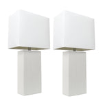 Elegant Designs 2 Pack Modern Leather Table Lamps with White Fabric Shades, White - llightsdaddy - Elegant Designs - Table Lamp