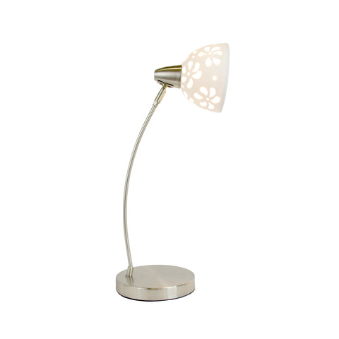 Simple Designs Brushed Nickel Desk Lamp with White Porcelain Flower Shade  Simple Designs Lamp Shades llightsdaddy.myshopify.com lightsdaddy