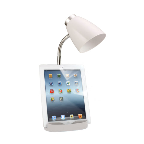 Limelights Gooseneck Organizer Desk Lamp with iPad Tablet Stand Book Holder, White - llightsdaddy - Limelights - Lamp Shades