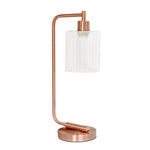 Simple Designs Bronson Antique Style Industrial Iron Lantern Desk Lamp with Glass Shade, Rose Gold - llightsdaddy - Simple Designs - Lamp Shades