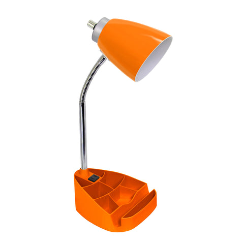 Limelights Gooseneck Organizer Desk Lamp with iPad Tablet Stand Book Holder and Charging Outlet, Orange - llightsdaddy - LimeLights - Lamp Shades
