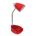 Limelights Gooseneck Organizer Desk Lamp with iPad Tablet Stand Book Holder and Charging Outlet, Red - llightsdaddy - LimeLights - Lamp Shades