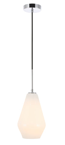 Gene 1 light Chrome and Frosted white glass pendant - llightsdaddy - Living District - Pendant Lights