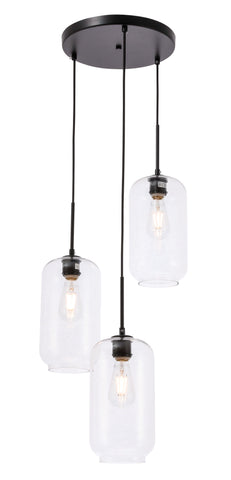 Collier 3 light Black and Clear glass pendant - llightsdaddy - Living District - Pendant Lights